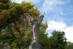 Angel On A Grave. An Angel Sculpture on a headstone in Arnos Vale Cemetery Bristol, UK Stock Photos