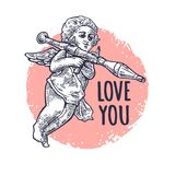 Angel with a grenade launcher. LOVE YOU lettering. Vector engraving Stock Images