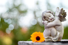 Angel guardian sleeping on the grave. Little angel guardian sleeping on the grave Stock Photo