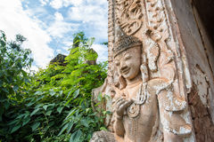 The angel guardian statue decoration at the corner of ancient pagoda in Inle lake of Myanmar. Royalty Free Stock Photos