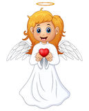 Angel hair blonde girl present a red heart Stock Image
