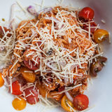 Angel Hair Pasta. Angel hair past with parmesan cheese and fresh cherry tomatoes Stock Images