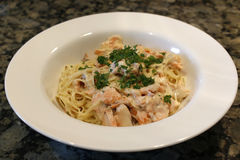Angel Hair pasta with Salmon. Angel Hair pasta with fresh Salmon stock photography