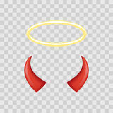 Angel halo and devil horns isolated on transparent checkered background. Vector illustration. Royalty Free Stock Photography
