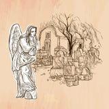 Angel - An hand drawn vector. Line art. Stock Photography