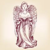 Angel hand drawn vector llustration Royalty Free Stock Images
