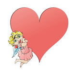 Angel and heart. Sweet angel and heart. Vector illustration Royalty Free Stock Photography