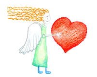 Angel_with_heart. Angel with long hair with red heart in hands Royalty Free Stock Image