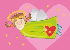 Angel with Heart. Illustration of a funny angel carrying a heart and with a pink background Stock Photos
