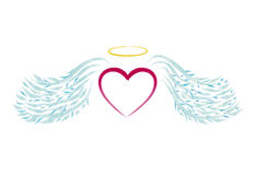 Angel heart. Illustrated heart with blue wings like angel Stock Images
