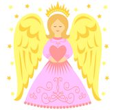 Pink Angel Heart/eps. Cute cartoon illustration of a winged angel in a pink gown holding a heart vector illustration