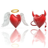 Angel heart and devil heart. 3d illustration Stock Photo