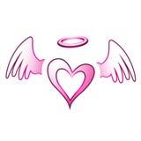 Angel Heart e asas ilustração do vetor