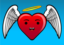 Angel Heart. Funny Vector illustration of heart with angel wings Royalty Free Stock Photography