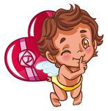 Angel with heart gift Stock Image