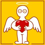 Angel with heart. Illustration of cherub with heart in hands Royalty Free Stock Image