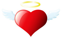 Angel Heart. Image of heart with wings and halo Royalty Free Stock Photo