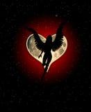 Angel Heart Moon. An angel with a heart shaped moon Stock Photos