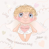 Angel Heart nomeado, cartão para Valentine Day ilustração stock