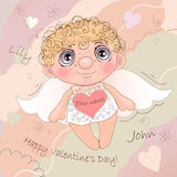 Angel Heart nommé, carte pour Valentine Day illustration stock