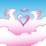 Angel Heart over the Clouds. Vector Illustration of Angel Heart over the Clouds Stock Image