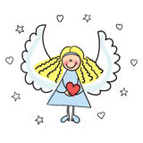 Angel with heart vector illustration Royalty Free Stock Photography