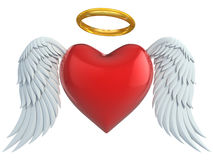Angel heart with wings and golden halo. 3d illustration Stock Images
