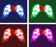 Angel heart. Heart with angel wings, red, blue, green, violet variation Stock Photos