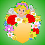 Angel with hearts and flowers Royalty Free Stock Images