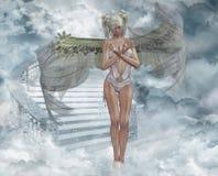 Angel in heaven. Angel in heven  , 3d render Stock Photo