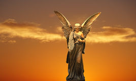 Angel in heaven guarding of souls. Angel in heaven Religious and Light at the End of the Tunnel Concepts Stock Image