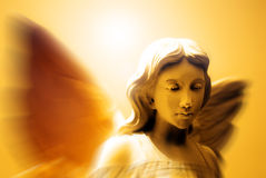 Angel and Heavenly Light. Angel with wings in front of heavenly light Stock Image