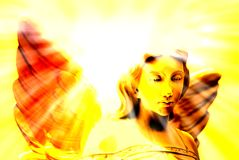 Angel and Heavenly Light Royalty Free Stock Photo
