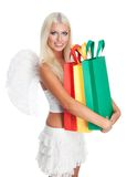 Angel hold many shopping bags Stock Images