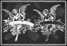 Angel with Holding a Banner on Vintage BlackBoard Stock Photos