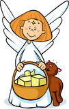 Angel holding a basket full of gifts and cat fawns - cute illustration Stock Photos