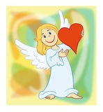 Angel 02. Angel holding a big red heart Royalty Free Illustration