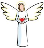Angel Holding Heart. Illustration of stylized angels holding red heart Royalty Free Stock Photos