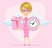 Angel holding a pink watchs and gifts with. Female angel holding a pink watchs and gifts with beautiful wings she congratulates you. Stock Vector illustration Royalty Free Stock Photo