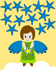 Angel holding star over a cloud stock illustration