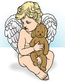 Angel Holding Stuffed Animal Royalty Free Stock Photography