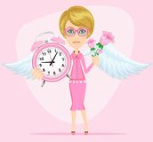 Angel holding time and flowers, vector Royalty Free Stock Photo