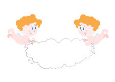 Angel holds cloud. Space for text. Two cute Angels  Stock Photo