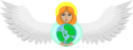 Angel holds the earth stock illustration
