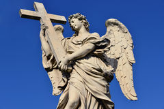 Angel with Holy Cross from Ponte Sant'Angelo in Rome Stock Photos