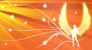 Angel illustration 3. Orange color Illustration of a sexy  angel with butterflies and light rays Stock Photo