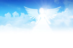 Angel. Illustration of an angel on clouds background Stock Photo