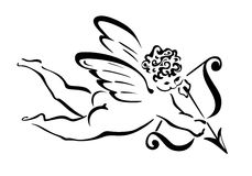 Angel. Illustration of a flying angel with bow an arrow Stock Photo