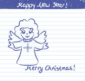 Angel  illustration for the New year - sketch on school notebook Stock Photos