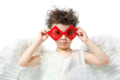 Angel In Red Glasses Stock Image